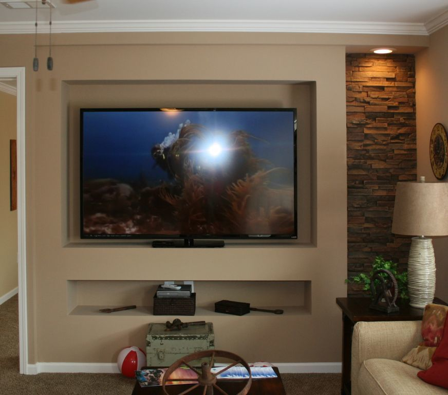 Mf 412 Recessed Tv Center With Stone Accent Colony Homes
