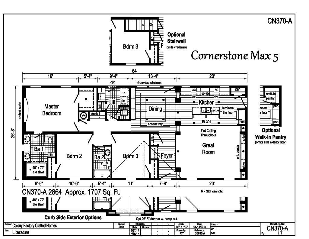 Cornerstone Modular Ranch Cornerstone MAX 5 CN370A – Cornerstone Homes Floor Plans